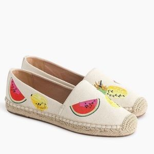 J. Crew Canvas Espadrilles with Embroidered Fruit